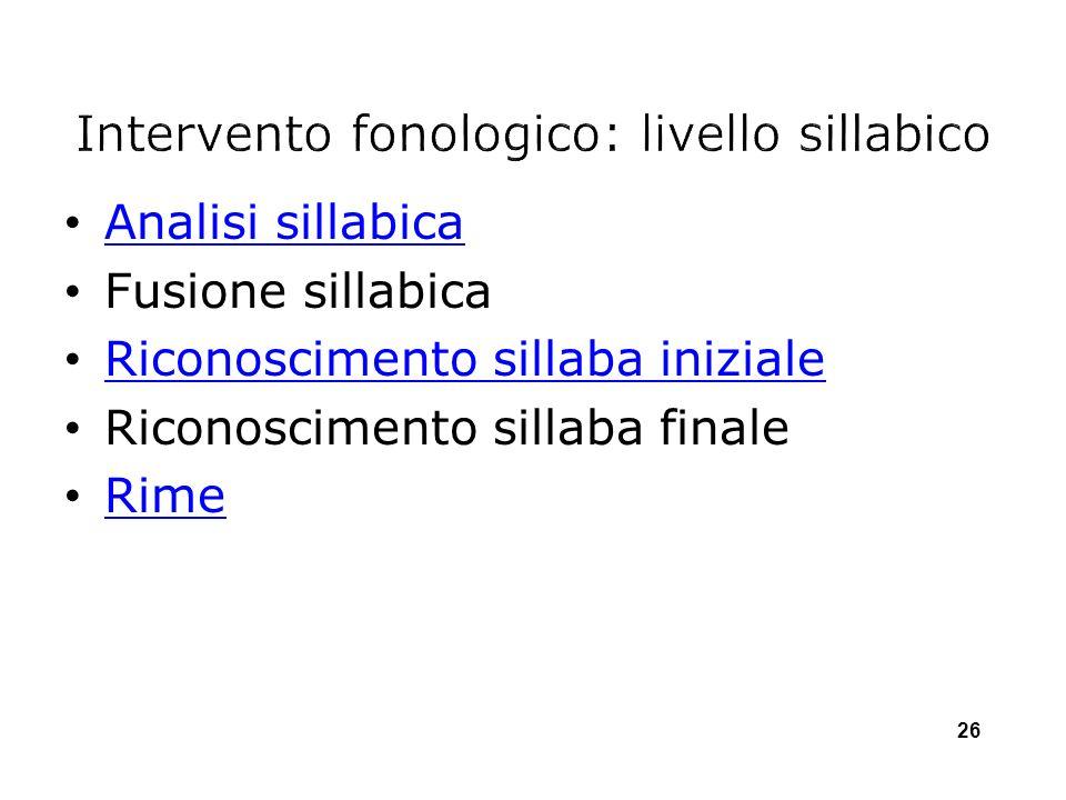 Analisi sillabica Fusione sillabica Riconoscimento sillaba iniziale Riconoscimento sillaba finale Rime 26