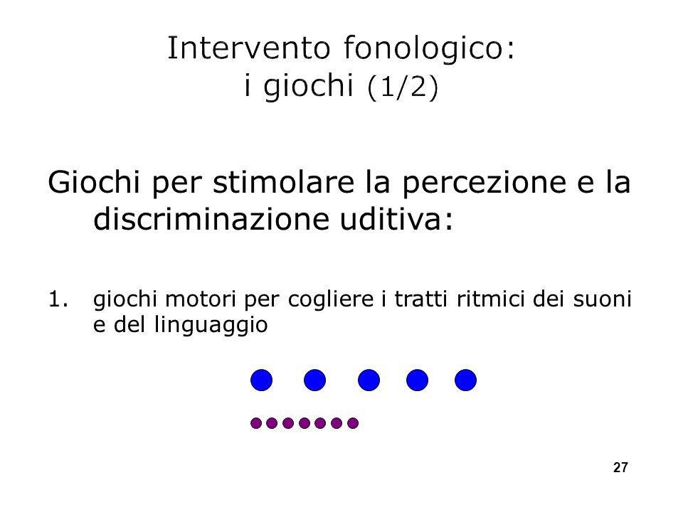 Giochi per stimolare la percezione e la discriminazione uditiva: 1.giochi motori per cogliere i tratti ritmici dei suoni e del linguaggio 27