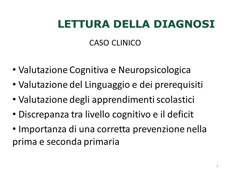 LETTURA DELLA DIAGNOSI 3 CASO CLINICO Valutazione Cognitiva e Neuropsicologica Valutazione del Linguaggio e dei prerequisiti Valutazione degli apprend