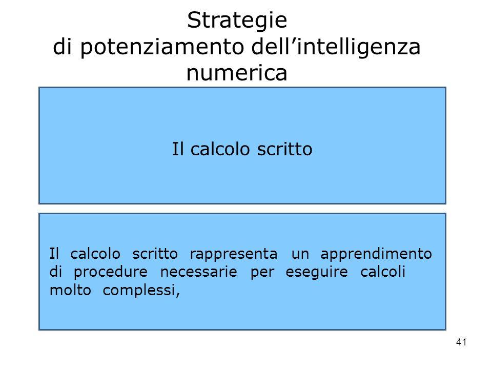41 Strategie di potenziamento dellintelligenza numerica Il calcolo scritto Il calcolo scritto rappresenta un apprendimento di procedure necessarie per