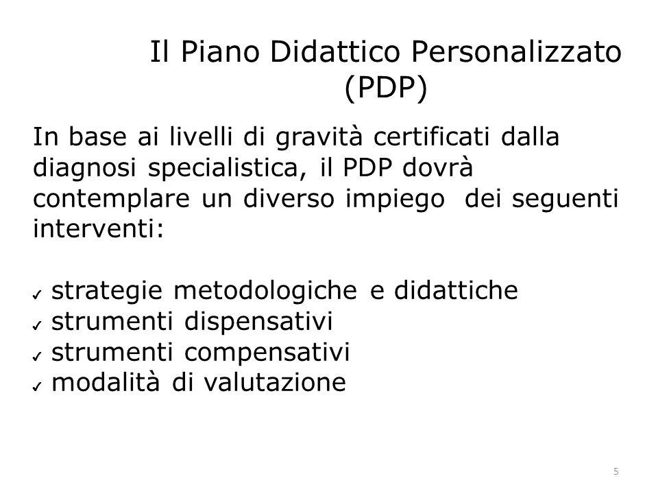 Il Piano Didattico Personalizzato (PDP) 5 In base ai livelli di gravità certificati dalla diagnosi specialistica, il PDP dovrà contemplare un diverso