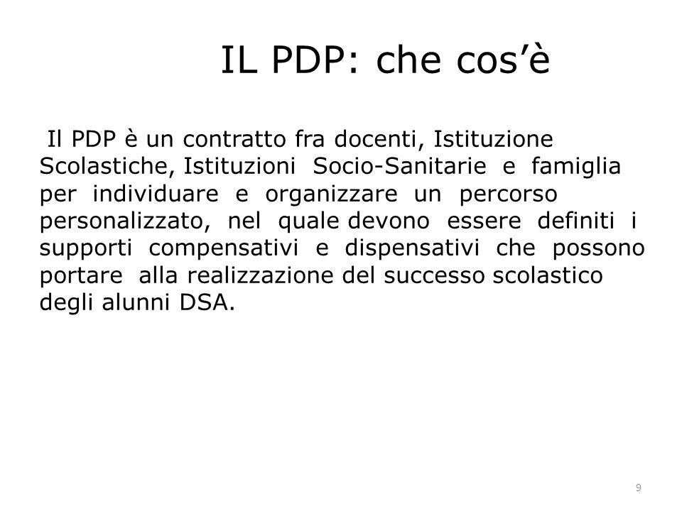 9 IL PDP: che cosè Il PDP è un contratto fra docenti, Istituzione Scolastiche, Istituzioni Socio-Sanitarie e famiglia per individuare e organizzare un