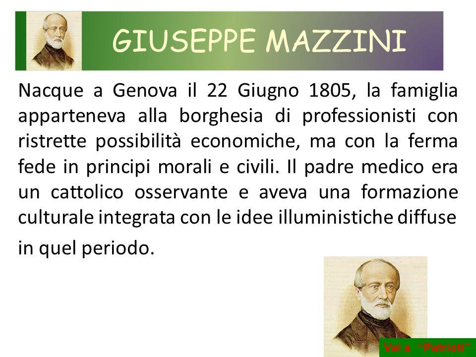 Nacque a Genova il 22 Giugno 1805, la famiglia apparteneva alla borghesia di professionisti con ristrette possibilità economiche, ma con la ferma fede