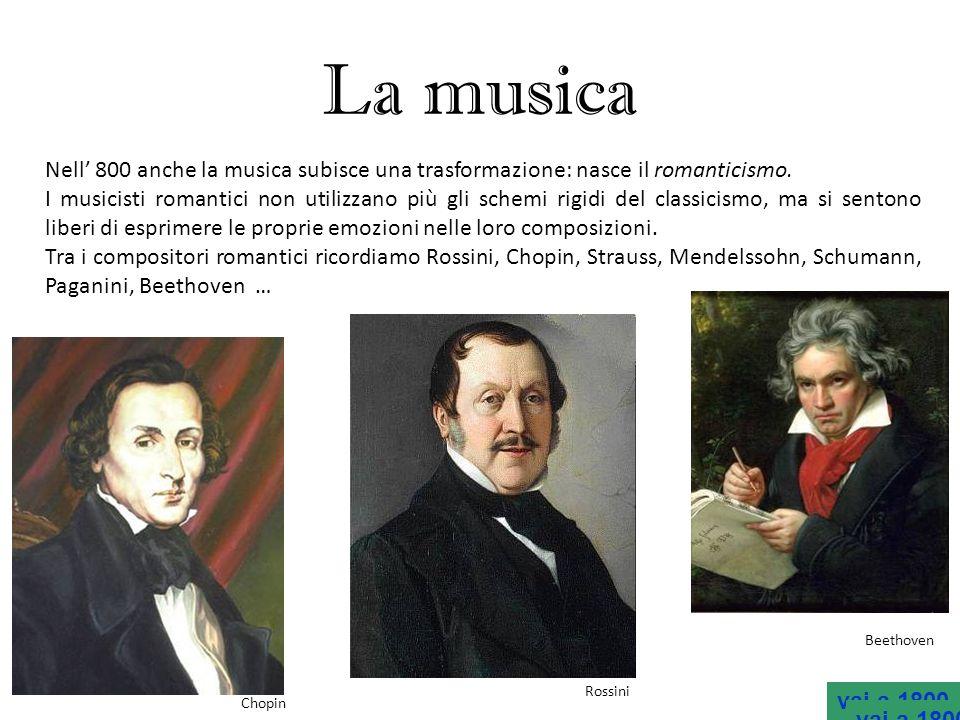 La musica Nell 800 anche la musica subisce una trasformazione: nasce il romanticismo. I musicisti romantici non utilizzano più gli schemi rigidi del c