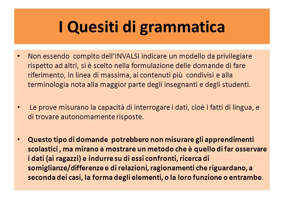 I Quesiti di grammatica Non essendo compito dellINVALSI indicare un modello da privilegiare rispetto ad altri, si è scelto nella formulazione delle do