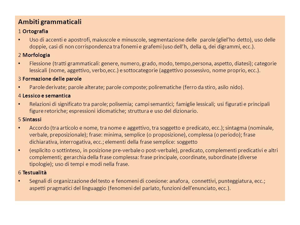 Ambiti grammaticali 1 Ortografia Uso di accenti e apostrofi, maiuscole e minuscole, segmentazione delle parole (glielho detto), uso delle doppie, casi