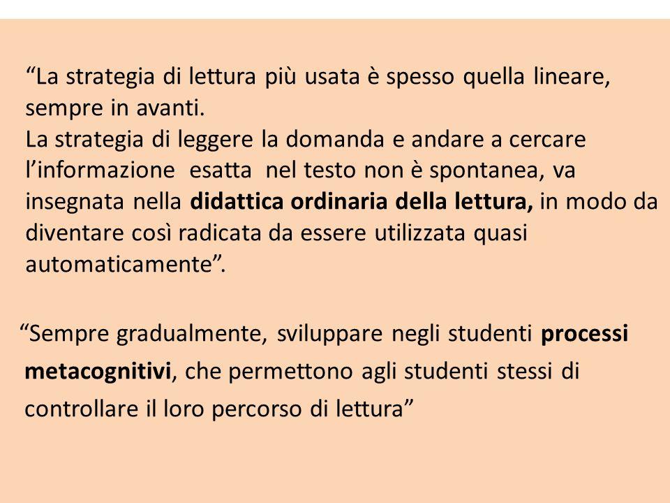 Sempre gradualmente, sviluppare negli studenti processi metacognitivi, che permettono agli studenti stessi di controllare il loro percorso di lettura