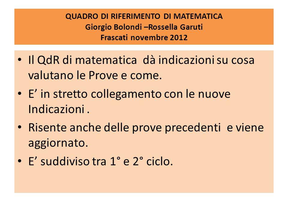 QUADRO DI RIFERIMENTO DI MATEMATICA Giorgio Bolondi –Rossella Garuti Frascati novembre 2012 Il QdR di matematica dà indicazioni su cosa valutano le Pr