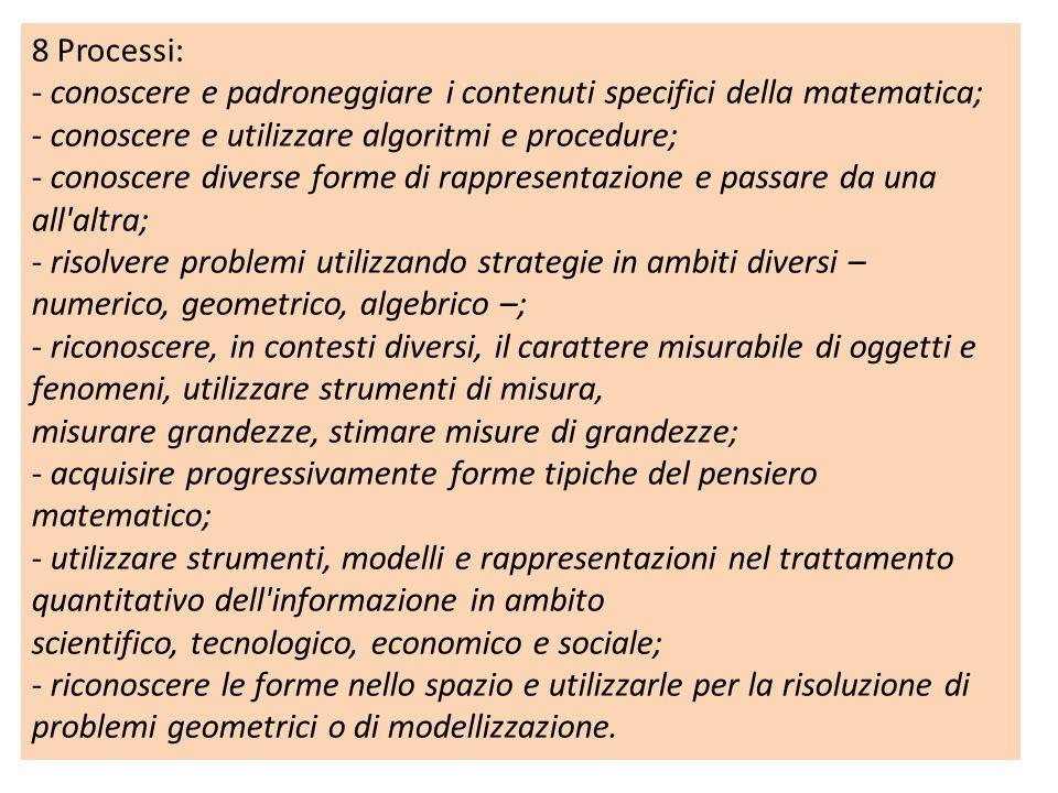 8 Processi: - conoscere e padroneggiare i contenuti specifici della matematica; - conoscere e utilizzare algoritmi e procedure; - conoscere diverse fo