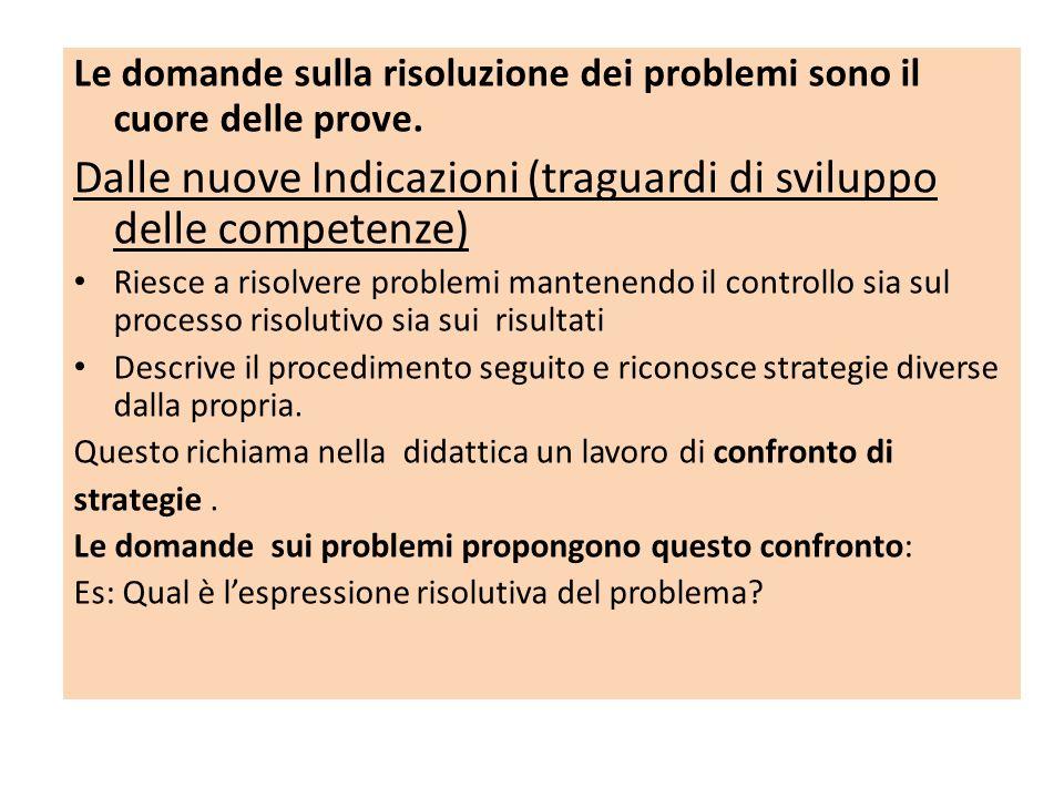 Le domande sulla risoluzione dei problemi sono il cuore delle prove. Dalle nuove Indicazioni (traguardi di sviluppo delle competenze) Riesce a risolve