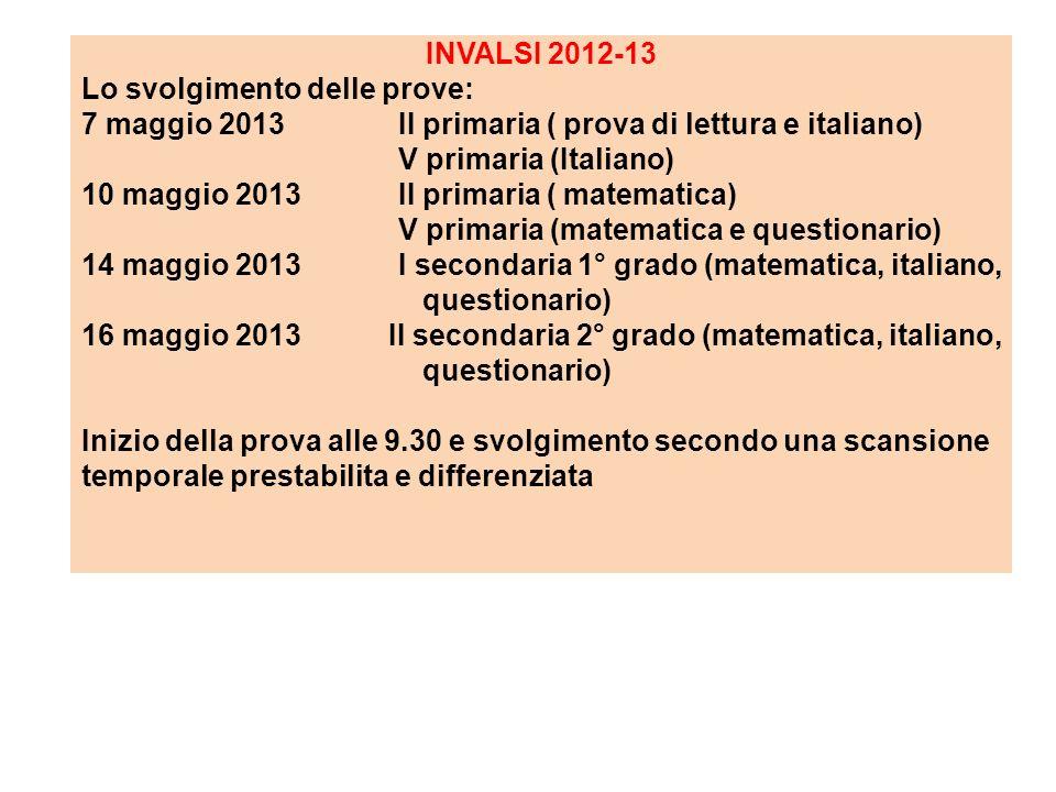 INVALSI 2012-13 Lo svolgimento delle prove: 7 maggio 2013 II primaria ( prova di lettura e italiano) V primaria (Italiano) 10 maggio 2013 II primaria