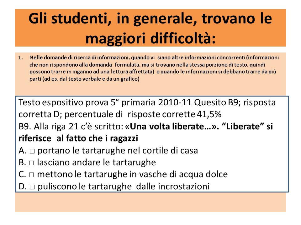 Gli studenti, in generale, trovano le maggiori difficoltà: 1.Nelle domande di ricerca di informazioni, quando vi siano altre informazioni concorrenti