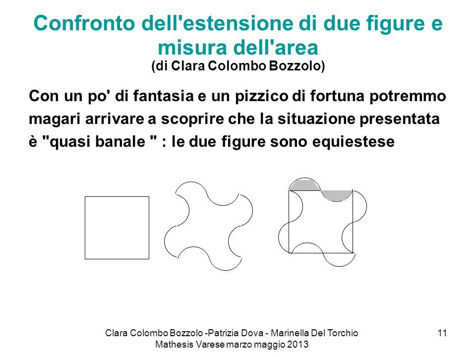 Clara Colombo Bozzolo -Patrizia Dova - Marinella Del Torchio Mathesis Varese marzo maggio 2013 11 Confronto dell'estensione di due figure e misura del