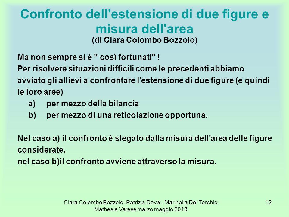 Clara Colombo Bozzolo -Patrizia Dova - Marinella Del Torchio Mathesis Varese marzo maggio 2013 12 Confronto dell'estensione di due figure e misura del