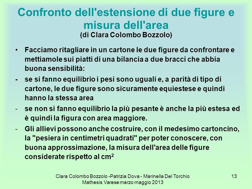 Clara Colombo Bozzolo -Patrizia Dova - Marinella Del Torchio Mathesis Varese marzo maggio 2013 13 Confronto dell'estensione di due figure e misura del
