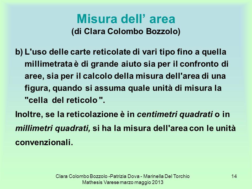 Clara Colombo Bozzolo -Patrizia Dova - Marinella Del Torchio Mathesis Varese marzo maggio 2013 14 Misura dell area (di Clara Colombo Bozzolo) b)L'uso