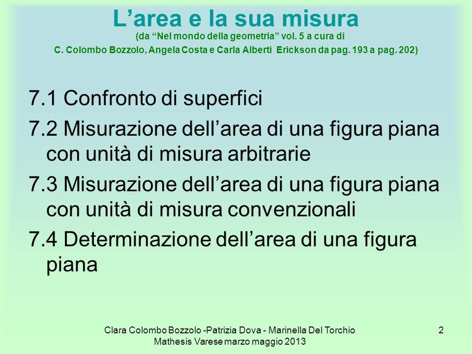 Clara Colombo Bozzolo -Patrizia Dova - Marinella Del Torchio Mathesis Varese marzo maggio 2013 3 Larea e la sua misura (da Nel mondo della geometria vol.