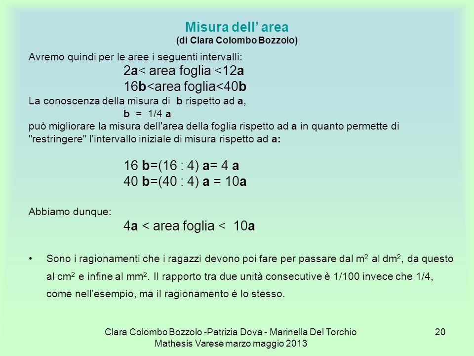 Clara Colombo Bozzolo -Patrizia Dova - Marinella Del Torchio Mathesis Varese marzo maggio 2013 20 Misura dell area (di Clara Colombo Bozzolo) Avremo q