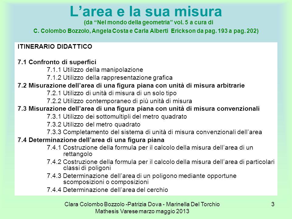 Clara Colombo Bozzolo -Patrizia Dova - Marinella Del Torchio Mathesis Varese marzo maggio 2013 3 Larea e la sua misura (da Nel mondo della geometria v