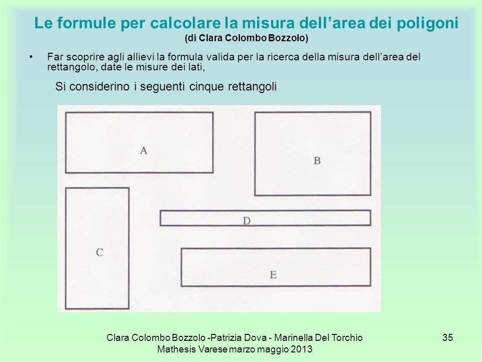 Clara Colombo Bozzolo -Patrizia Dova - Marinella Del Torchio Mathesis Varese marzo maggio 2013 35 Le formule per calcolare la misura dellarea dei poli