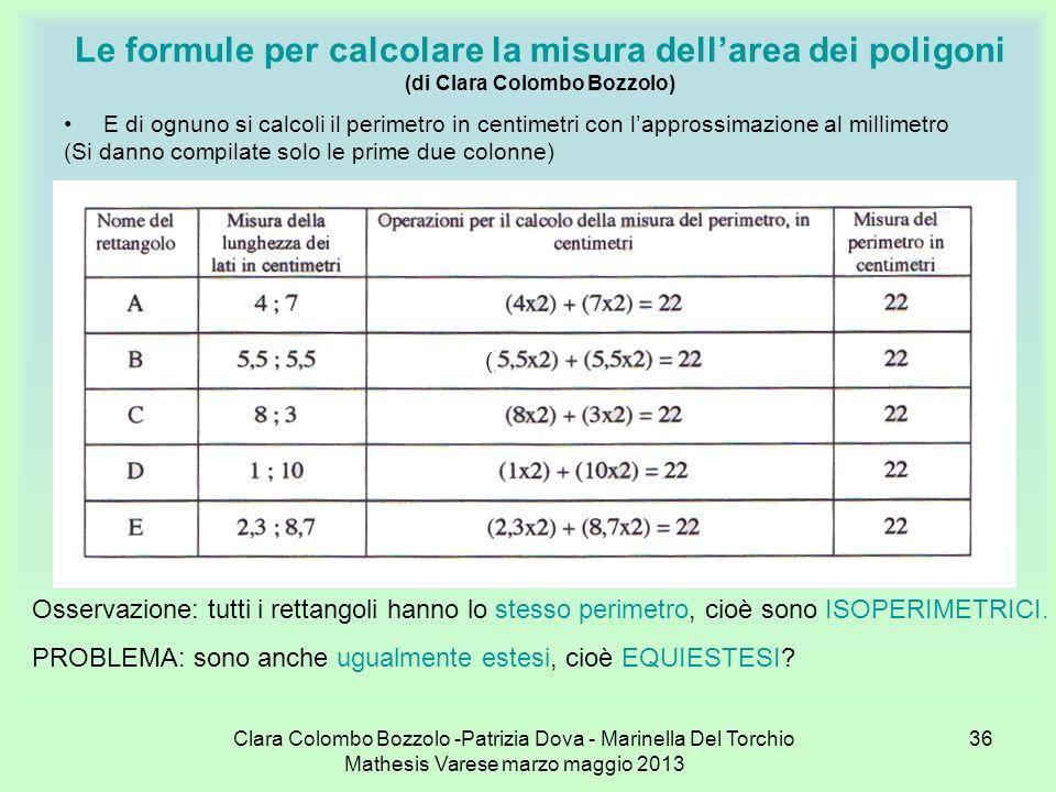 Clara Colombo Bozzolo -Patrizia Dova - Marinella Del Torchio Mathesis Varese marzo maggio 2013 36 Le formule per calcolare la misura dellarea dei poli