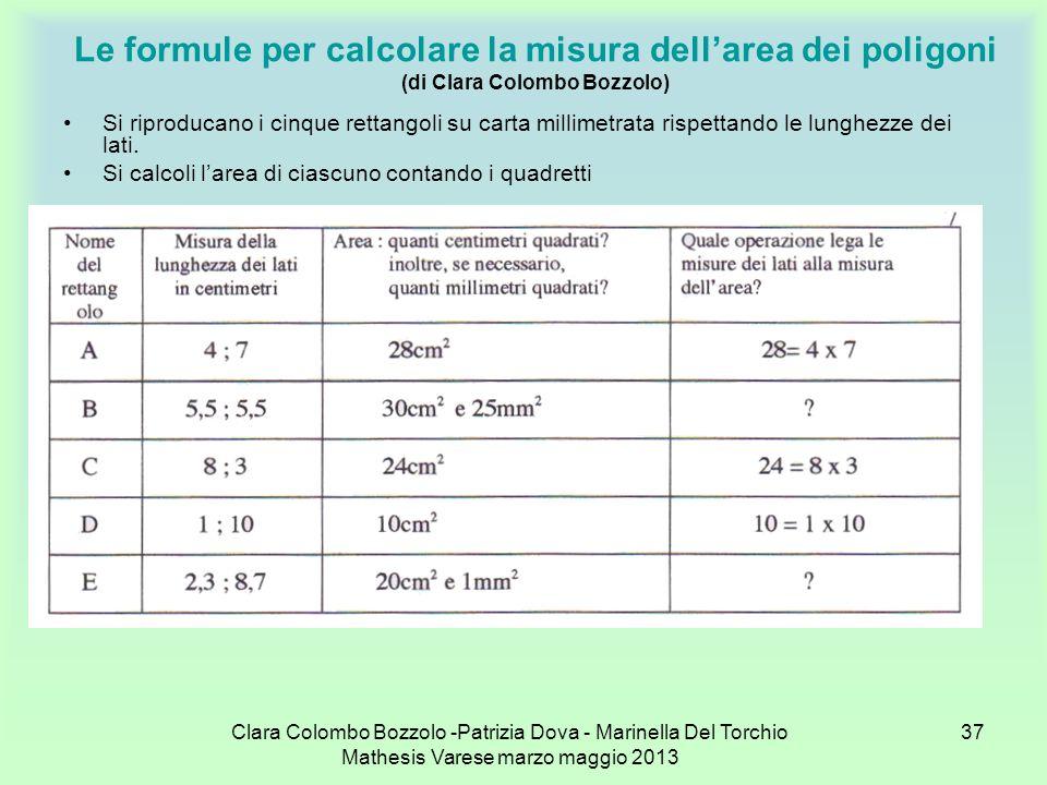 Clara Colombo Bozzolo -Patrizia Dova - Marinella Del Torchio Mathesis Varese marzo maggio 2013 37 Le formule per calcolare la misura dellarea dei poli