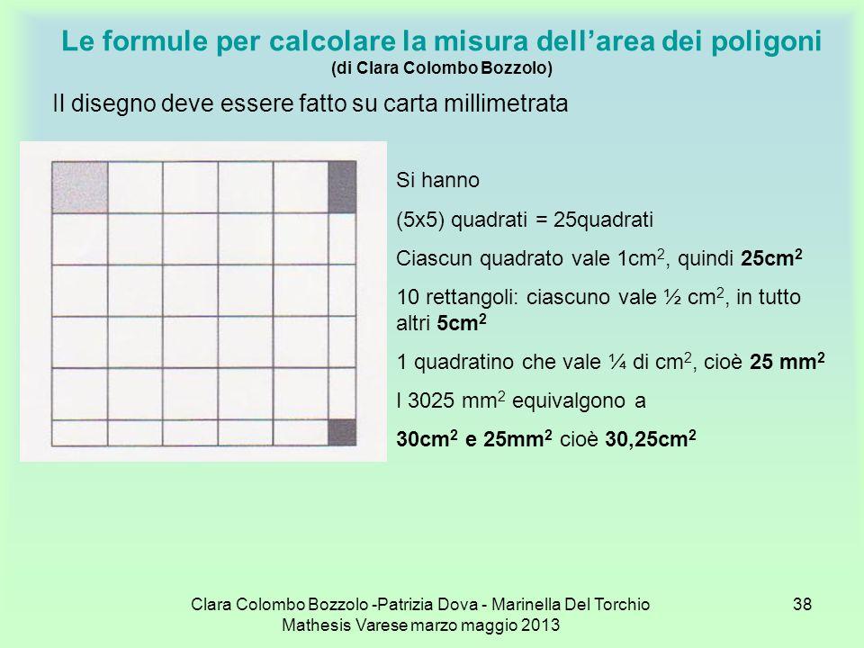 Clara Colombo Bozzolo -Patrizia Dova - Marinella Del Torchio Mathesis Varese marzo maggio 2013 38 Le formule per calcolare la misura dellarea dei poli