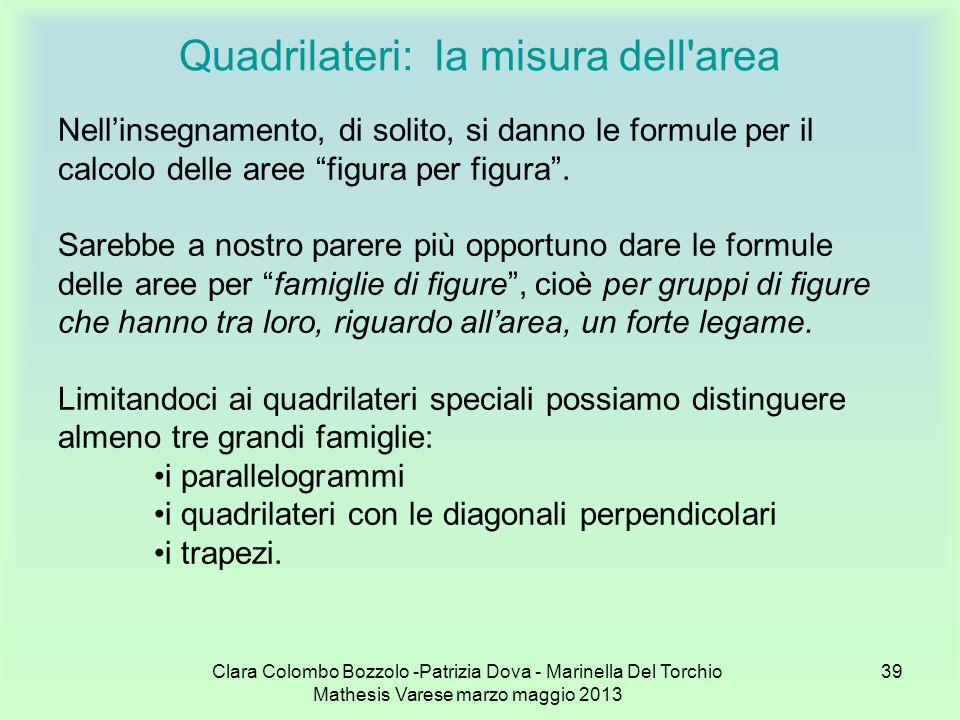 Clara Colombo Bozzolo -Patrizia Dova - Marinella Del Torchio Mathesis Varese marzo maggio 2013 39 Quadrilateri: la misura dell'area Nellinsegnamento,