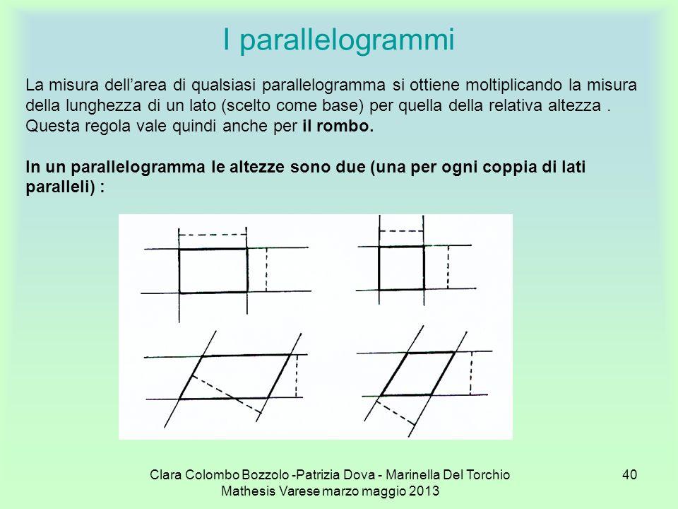 Clara Colombo Bozzolo -Patrizia Dova - Marinella Del Torchio Mathesis Varese marzo maggio 2013 40 I parallelogrammi La misura dellarea di qualsiasi pa