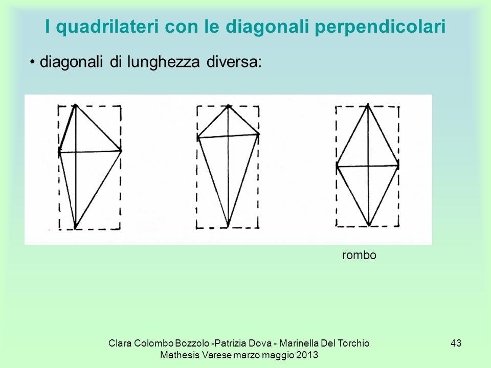 Clara Colombo Bozzolo -Patrizia Dova - Marinella Del Torchio Mathesis Varese marzo maggio 2013 43 I quadrilateri con le diagonali perpendicolari diago