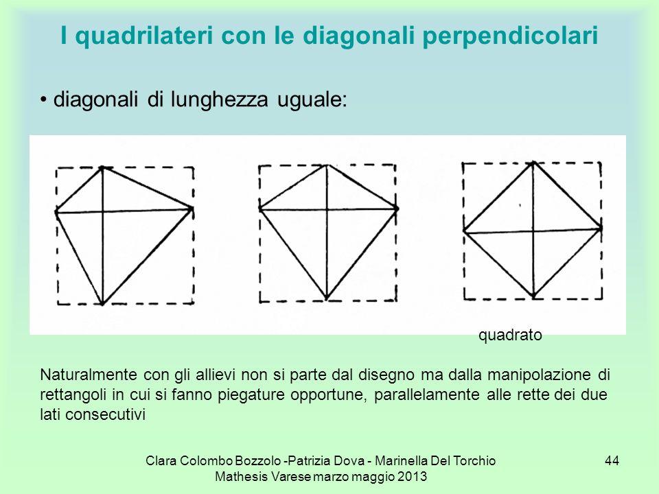 Clara Colombo Bozzolo -Patrizia Dova - Marinella Del Torchio Mathesis Varese marzo maggio 2013 44 I quadrilateri con le diagonali perpendicolari diago
