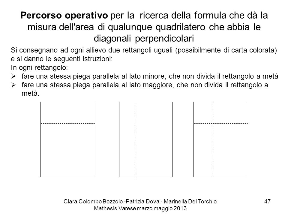 Clara Colombo Bozzolo -Patrizia Dova - Marinella Del Torchio Mathesis Varese marzo maggio 2013 47 Percorso operativo per la ricerca della formula che