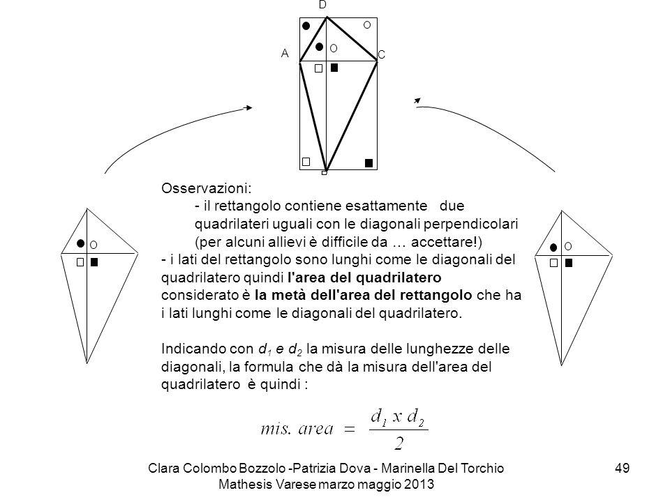 Clara Colombo Bozzolo -Patrizia Dova - Marinella Del Torchio Mathesis Varese marzo maggio 2013 49 C D A B Osservazioni: - il rettangolo contiene esatt