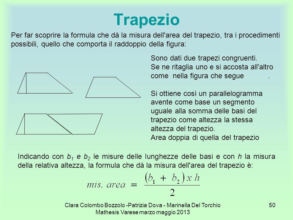 Clara Colombo Bozzolo -Patrizia Dova - Marinella Del Torchio Mathesis Varese marzo maggio 2013 50 Trapezio Per far scoprire la formula che dà la misur