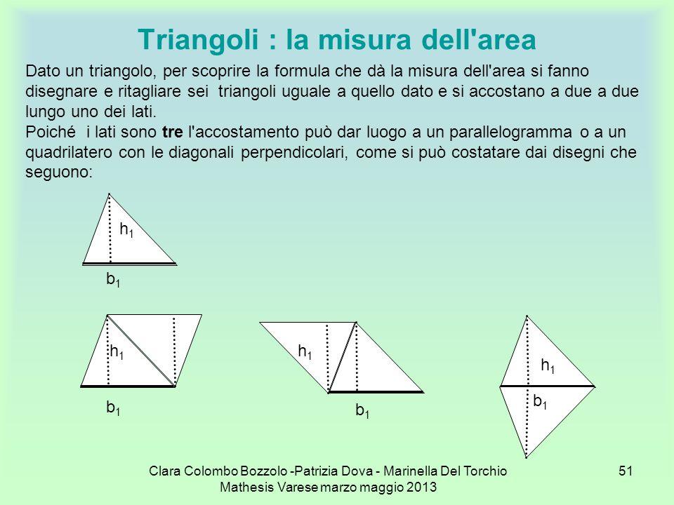 Clara Colombo Bozzolo -Patrizia Dova - Marinella Del Torchio Mathesis Varese marzo maggio 2013 51 Triangoli : la misura dell'area Dato un triangolo, p