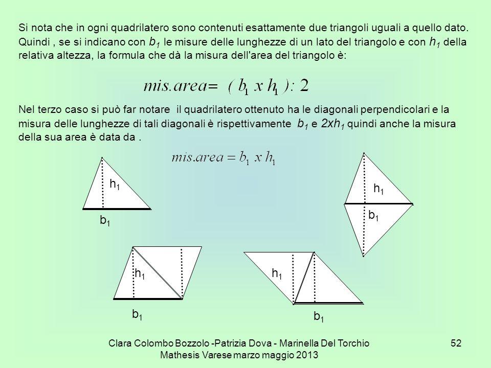 Clara Colombo Bozzolo -Patrizia Dova - Marinella Del Torchio Mathesis Varese marzo maggio 2013 52 Si nota che in ogni quadrilatero sono contenuti esat