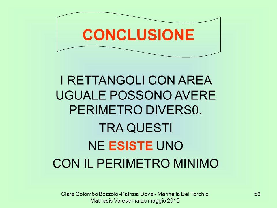 Clara Colombo Bozzolo -Patrizia Dova - Marinella Del Torchio Mathesis Varese marzo maggio 2013 56 CONCLUSIONE I RETTANGOLI CON AREA UGUALE POSSONO AVE