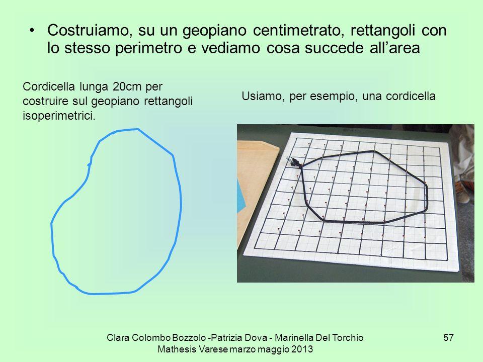Clara Colombo Bozzolo -Patrizia Dova - Marinella Del Torchio Mathesis Varese marzo maggio 2013 57 Costruiamo, su un geopiano centimetrato, rettangoli