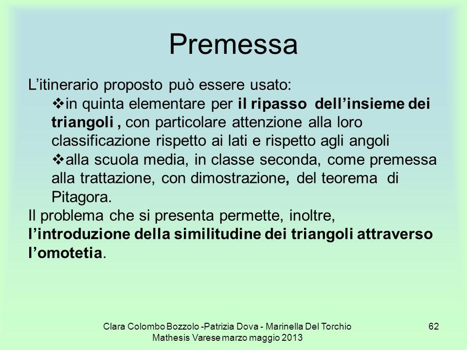 Clara Colombo Bozzolo -Patrizia Dova - Marinella Del Torchio Mathesis Varese marzo maggio 2013 62 Premessa Litinerario proposto può essere usato: in q