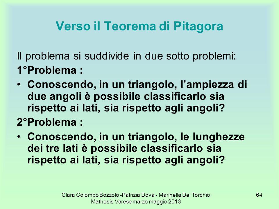 Clara Colombo Bozzolo -Patrizia Dova - Marinella Del Torchio Mathesis Varese marzo maggio 2013 64 Verso il Teorema di Pitagora Il problema si suddivid