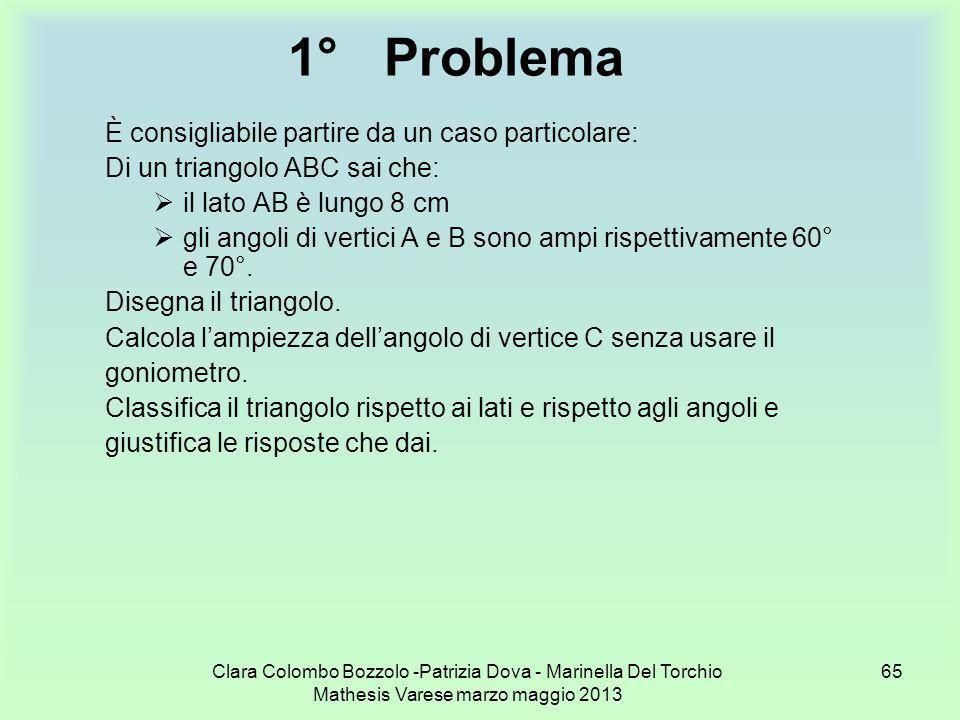 Clara Colombo Bozzolo -Patrizia Dova - Marinella Del Torchio Mathesis Varese marzo maggio 2013 65 1°Problema È consigliabile partire da un caso partic