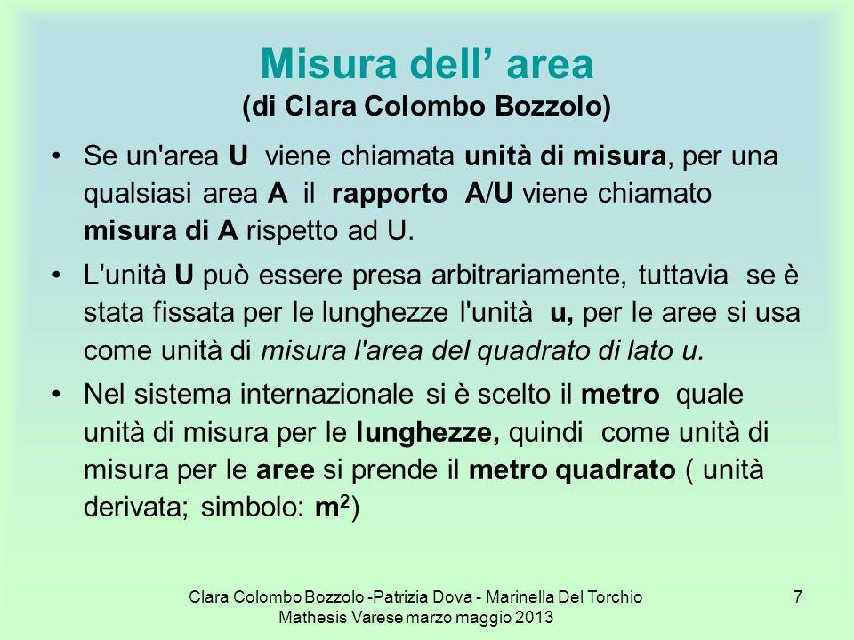Clara Colombo Bozzolo -Patrizia Dova - Marinella Del Torchio Mathesis Varese marzo maggio 2013 28 Misurazione dellarea di una figura piana con unità di misura convenzionali Il millimetro quadrato risulta, dunque, essere la centesima parte del centimetro quadrato: 1mm 2 = 1/100 di 1cm 2 = 0,01cm 2 Una decina di millimetri quadrati non è sufficiente per formare un centimetro quadrato, ne è la decima parte, per cui 10mm 2 = 1/10 di 1cm 2 = 0,1cm 2 Ne segue che due sono le cifre dopo la virgola che si riferiscono ai millimetri quadrati: quella dei decimi e quella dei centesimi di centimetro quadrato