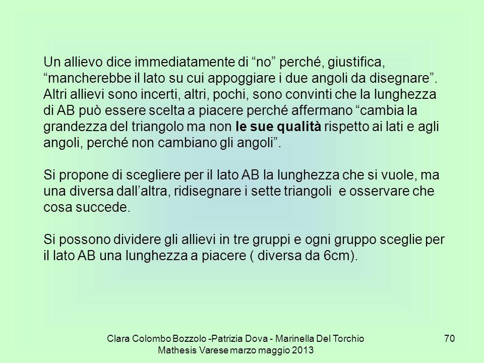 Clara Colombo Bozzolo -Patrizia Dova - Marinella Del Torchio Mathesis Varese marzo maggio 2013 70 Un allievo dice immediatamente di no perché, giustif