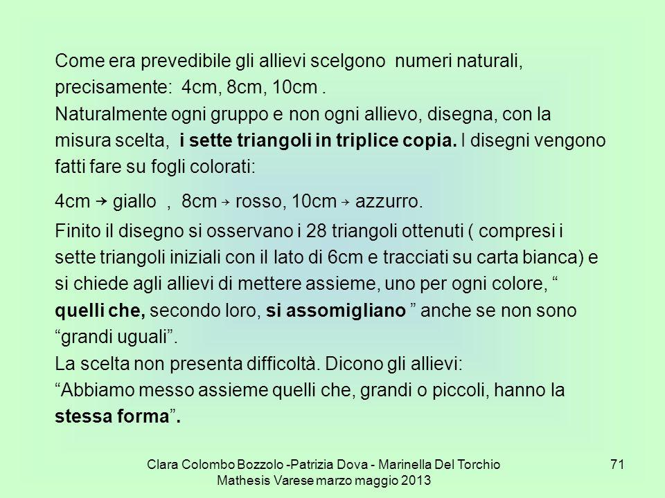 Clara Colombo Bozzolo -Patrizia Dova - Marinella Del Torchio Mathesis Varese marzo maggio 2013 71 Come era prevedibile gli allievi scelgono numeri nat