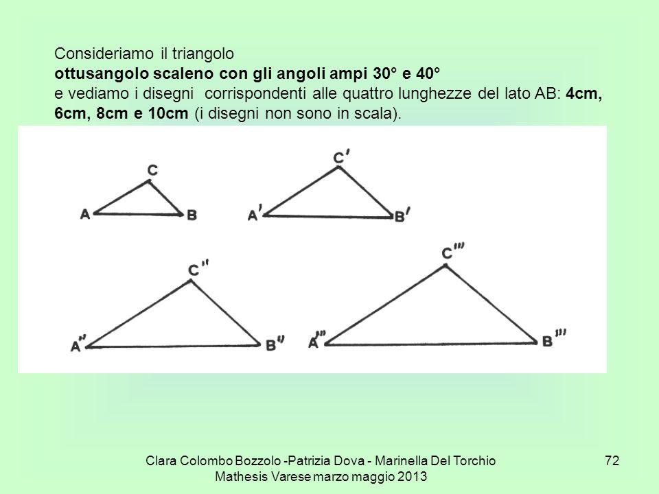 Clara Colombo Bozzolo -Patrizia Dova - Marinella Del Torchio Mathesis Varese marzo maggio 2013 72 Consideriamo il triangolo ottusangolo scaleno con gl