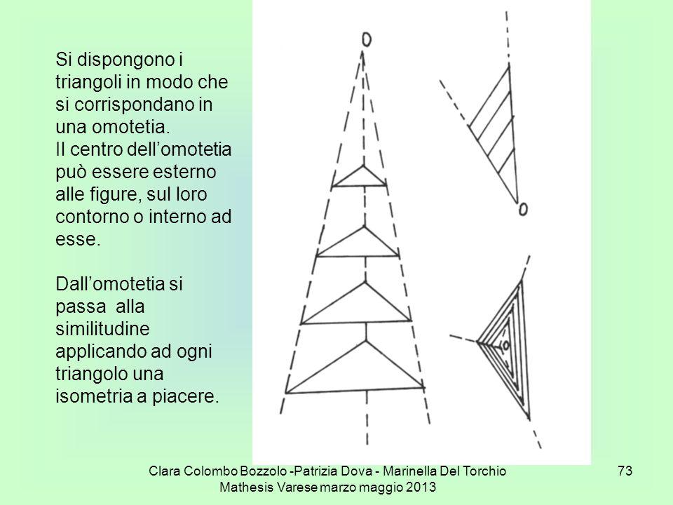Clara Colombo Bozzolo -Patrizia Dova - Marinella Del Torchio Mathesis Varese marzo maggio 2013 73 Si dispongono i triangoli in modo che si corrisponda