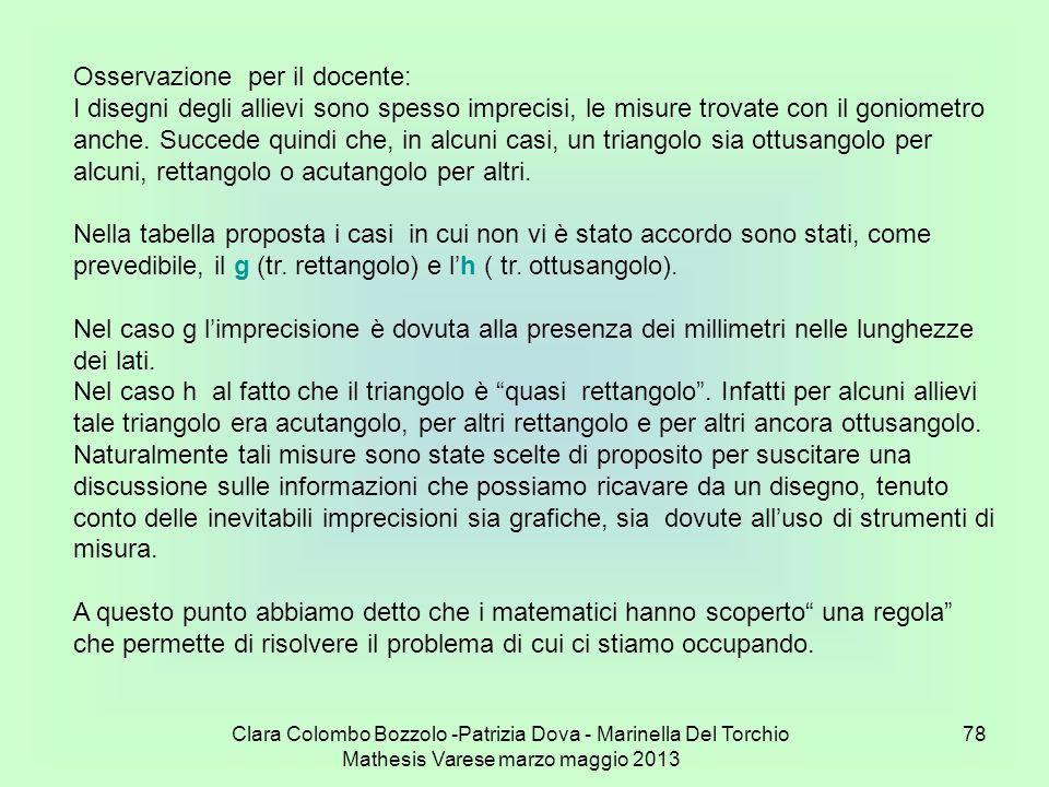 Clara Colombo Bozzolo -Patrizia Dova - Marinella Del Torchio Mathesis Varese marzo maggio 2013 78 Osservazione per il docente: I disegni degli allievi