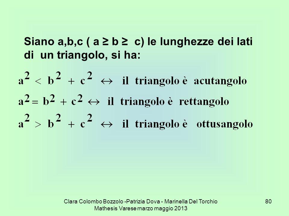 Clara Colombo Bozzolo -Patrizia Dova - Marinella Del Torchio Mathesis Varese marzo maggio 2013 80 Siano a,b,c ( a b c) le lunghezze dei lati di un tri