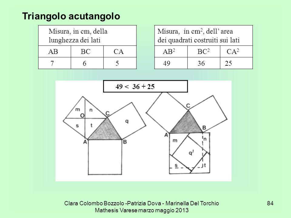 Clara Colombo Bozzolo -Patrizia Dova - Marinella Del Torchio Mathesis Varese marzo maggio 2013 84 Triangolo acutangolo Misura, in cm, della lunghezza