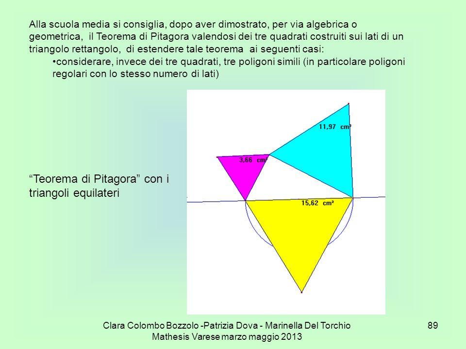 Clara Colombo Bozzolo -Patrizia Dova - Marinella Del Torchio Mathesis Varese marzo maggio 2013 89 Teorema di Pitagora con i triangoli equilateri Alla